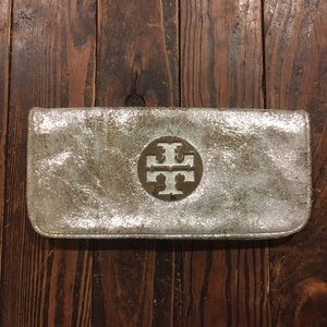 Tory Burch Silver Leather Clutch